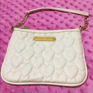 Betsy Johnson small white heart purse